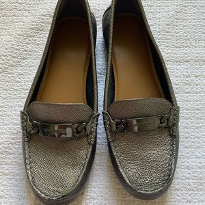 Coach metallic leather loafer flats